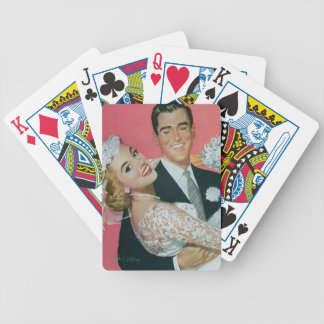 Vintage Wedding, Groom Carrying Bride, Newlyweds Playing Cards