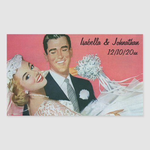 Vintage Wedding, Groom Carrying Bride, Newlyweds Rectangular Sticker