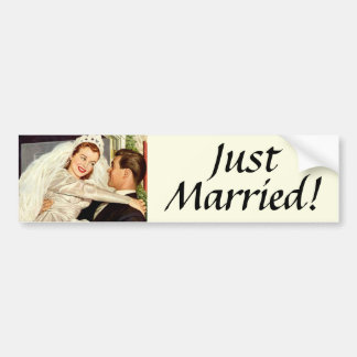 Vintage Wedding, Happy Bride and Groom Newlyweds Bumper Sticker