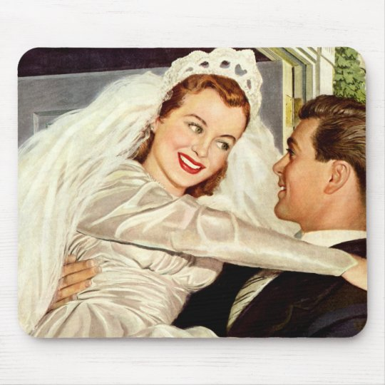 Vintage Wedding, Happy Bride and Groom Newlyweds Mouse Pad