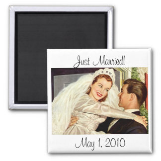 Vintage Wedding, Happy Bride and Groom Newlyweds Square Magnet