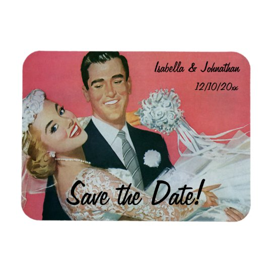 Vintage Wedding Happy Newlyweds, Save the Date Magnet
