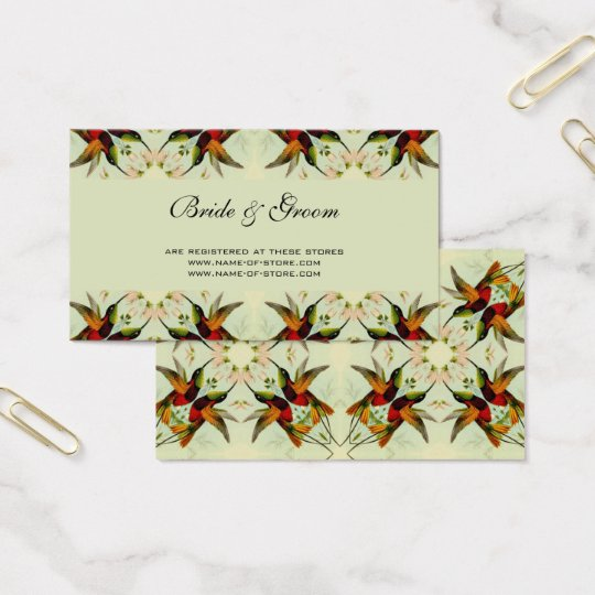 Vintage Wedding, Hummingbirds and Flowers Business Card