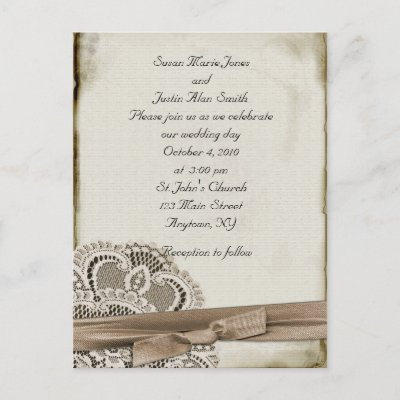 Vintage look wedding invitation postcard Old worn and texturedlook paper