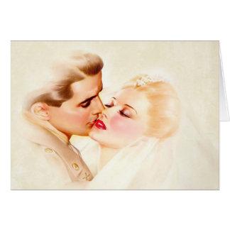 Vintage Wedding Kiss, Soldier & Bride Card