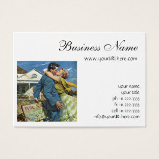 Vintage Wedding, Newlyweds Buy First House Business Card