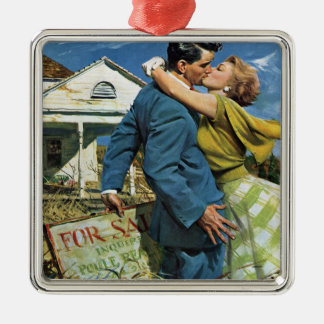 Vintage Wedding, Newlyweds Buy First House Christmas Ornament