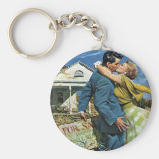 Vintage Wedding, Newlyweds Buy First House Key Ring