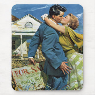 Vintage Wedding, Newlyweds Buy First House Mouse Mat
