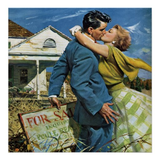 Vintage Wedding, Newlyweds Buy First House Poster