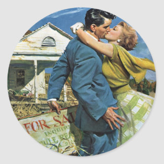Vintage Wedding, Newlyweds Buy First House Round Sticker