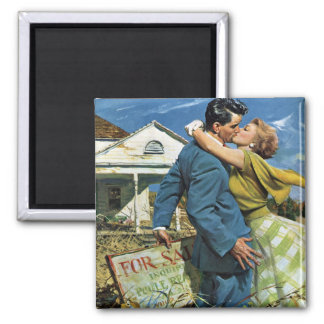 Vintage Wedding, Newlyweds Buy First House Square Magnet