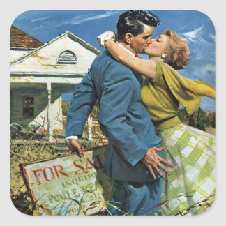 Vintage Wedding, Newlyweds Buy First House Square Sticker