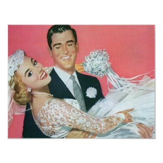 Vintage Wedding Newlyweds, Groom Carrying Bride 11 Cm X 14 Cm Invitation Card