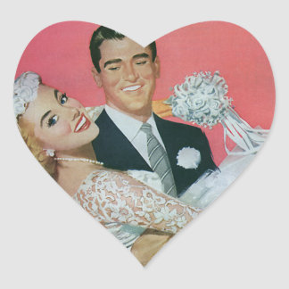 Vintage Wedding Newlyweds, Groom Carrying Bride Heart Sticker