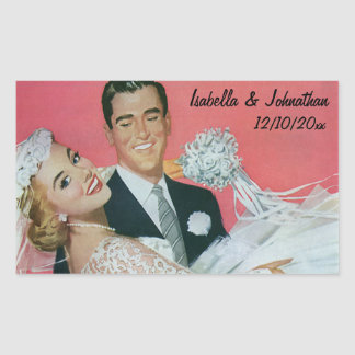 Vintage Wedding Newlyweds, Groom Carrying Bride Rectangular Sticker