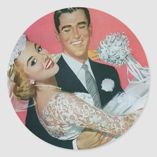 Vintage Wedding Newlyweds, Groom Carrying Bride Round Sticker
