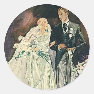 Vintage Wedding Newlyweds, Happy Bride and Goom Round Sticker