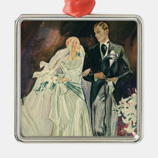 Vintage Wedding Newlyweds, Happy Bride and Goom Silver-Colored Square Decoration