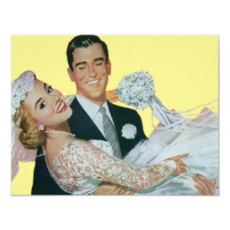 Vintage Wedding Newlyweds, Happy Bride and Groom 11 Cm X 14 Cm Invitation Card