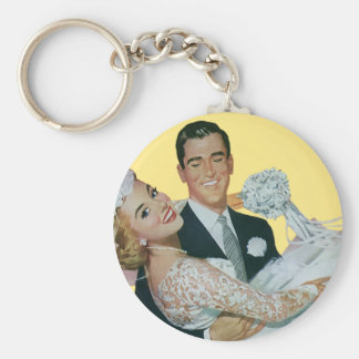 Vintage Wedding Newlyweds, Happy Bride and Groom Basic Round Button Key Ring