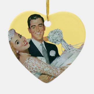 Vintage Wedding Newlyweds, Happy Bride and Groom Ceramic Heart Decoration