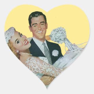 Vintage Wedding Newlyweds, Happy Bride and Groom Heart Sticker