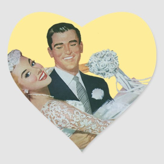 Vintage Wedding Newlyweds, Happy Bride and Groom Heart Sticker