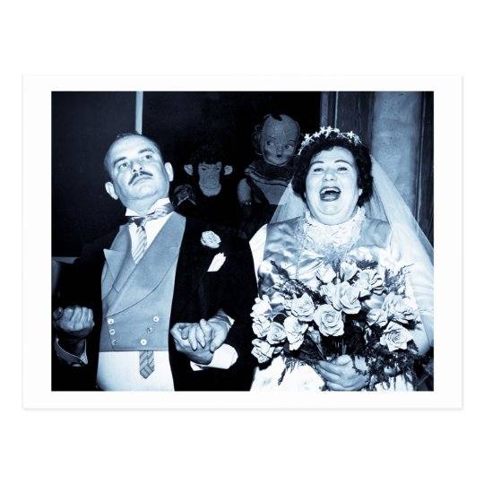 Vintage Wedding Picture - Happy Couple (Cyanotype) Postcard