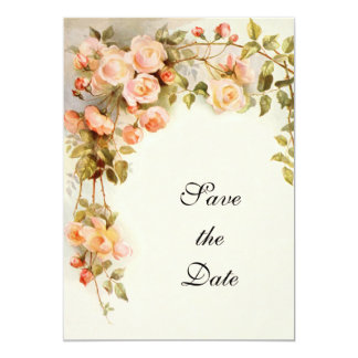 Vintage Wedding, Pink Rose Flowers, Save the Date Card