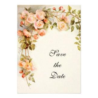 Vintage Wedding, Pink Rose Flowers, Save the Date Custom Invitations