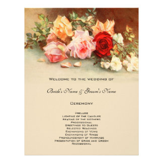 Vintage Wedding Program Antique Rose Flower Floral Custom Flyer