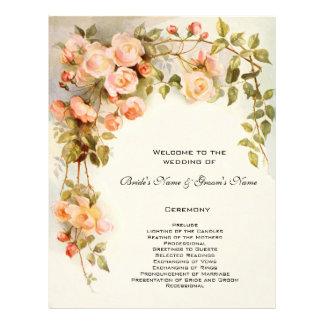 Vintage Wedding Program, Pink Rose Flowers Floral 21.5 Cm X 28 Cm Flyer