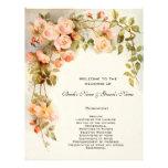 Vintage Wedding Program, Pink Rose Flowers Floral Flyer Design
