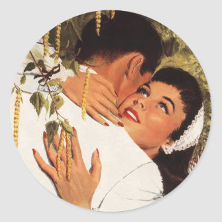 Vintage Wedding Proposal, Love and Romance Round Sticker