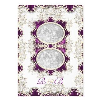 Vintage wedding purple invitation