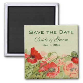 Vintage Wedding, Red Poppies Flowers Save the Date Square Magnet