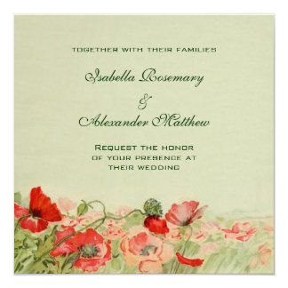 Vintage Wedding, Red Poppy Flowers Floral Meadow 13 Cm X 13 Cm Square Invitation Card