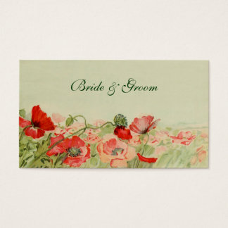 Vintage Wedding, Red Poppy Flowers Floral Meadow Business Card
