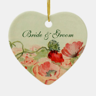 Vintage Wedding, Red Poppy Flowers Floral Meadow Ceramic Heart Decoration