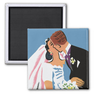Vintage Wedding, Retro Bride and Groom Kissing Square Magnet