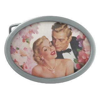 Vintage Wedding, Retro Bride and Groom Newlyweds Belt Buckles