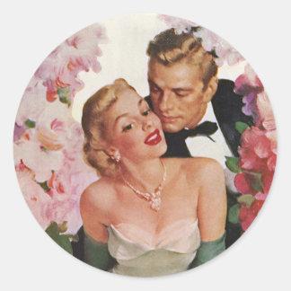 Vintage Wedding, Retro Bride and Groom Newlyweds Classic Round Sticker