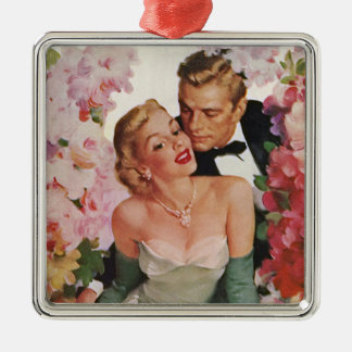 Vintage Wedding, Retro Bride and Groom Newlyweds Silver-Colored Square Decoration