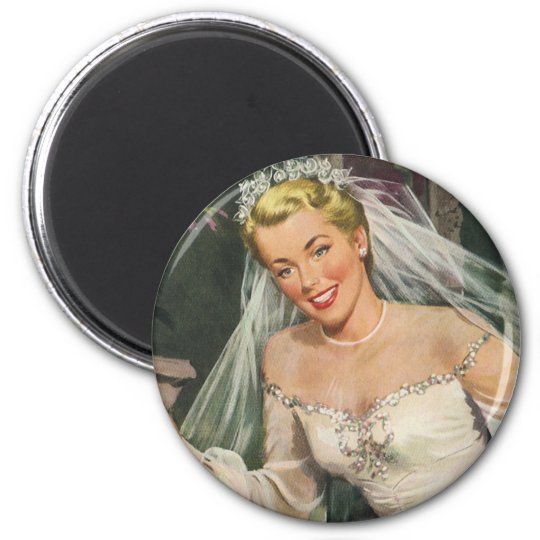 Vintage Wedding, Retro Bride with Flower Girl 6 Cm Round Magnet