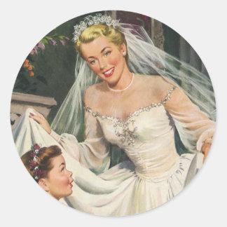 Vintage Wedding, Retro Bride with Flower Girl Classic Round Sticker