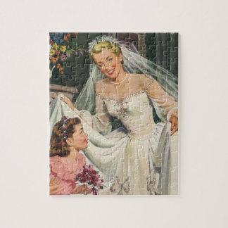 Vintage Wedding, Retro Bride with Flower Girl Jigsaw Puzzle