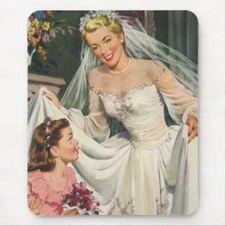 Vintage Wedding, Retro Bride with Flower Girl Mouse Mat