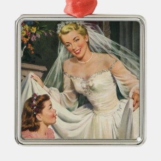Vintage Wedding, Retro Bride with Flower Girl Silver-Colored Square Decoration