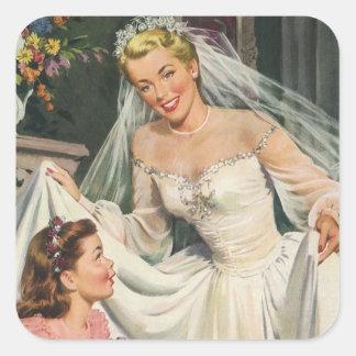 Vintage Wedding, Retro Bride with Flower Girl Square Sticker